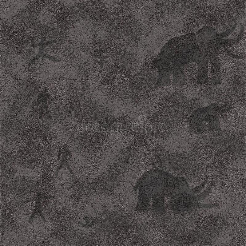 Las pinturas de la pintura y los dibujos antiguos prehistóricos del dibujo en una cueva oscilan foto de archivo