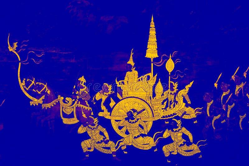 Las pinturas murales de Ramakien Ramayana colorean el ejemplo negro y rosado a lo largo del papel pintado de las galer?as y del f imagen de archivo