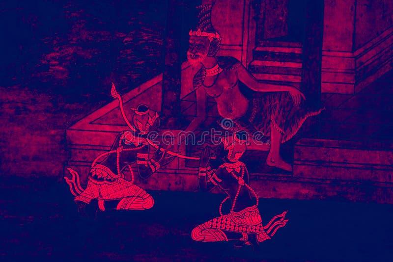 Las pinturas murales de Ramakien Ramayana colorean el ejemplo negro y rosado a lo largo del papel pintado de las galer?as y del f foto de archivo libre de regalías