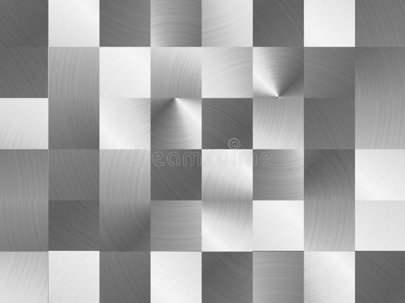 Las placas cuadradas cepillaron la superficie de metal Textura del metal Fondo de acero abstracto stock de ilustración