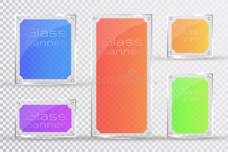 Las placas de cristal están instaladas Banderas de cristal del vector en un fondo transparente Vidrio Pinturas de cristal Marcos  ilustración del vector