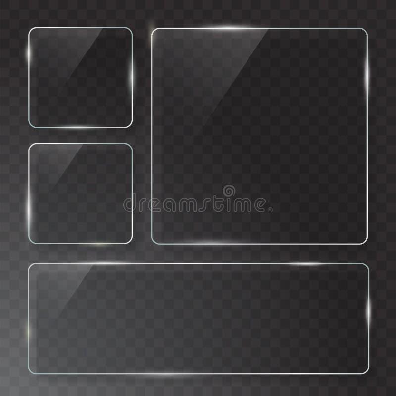 Las placas de cristal transparentes modernas del vector fijaron en fondo de la muestra ilustración del vector