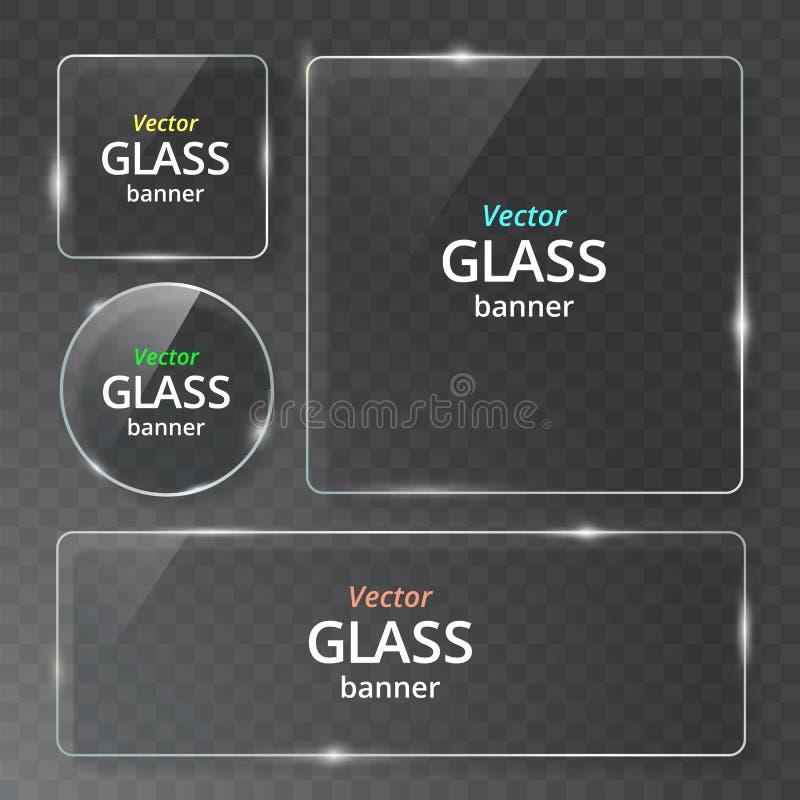 Las placas de cristal transparentes modernas del vector fijaron en fondo de la muestra EPS10 stock de ilustración