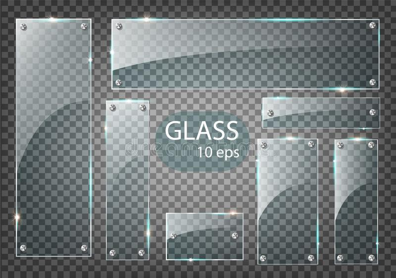 Las placas de cristal transparentes modernas del vector fijaron en fondo de la muestra EPS10 libre illustration