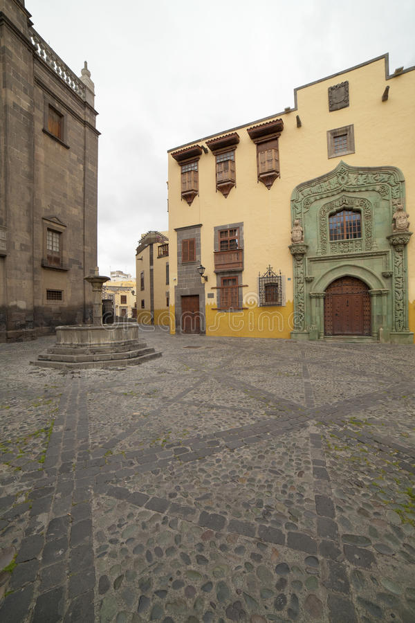 Las Plamas de Gran Canaria old town. Vegueta, paved square, Columbus House stock photos