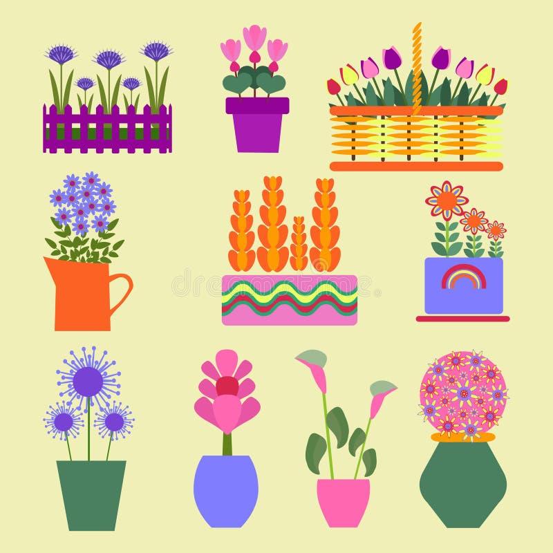 Las plantas de jardín fijaron los iconos para el diseño stock de ilustración