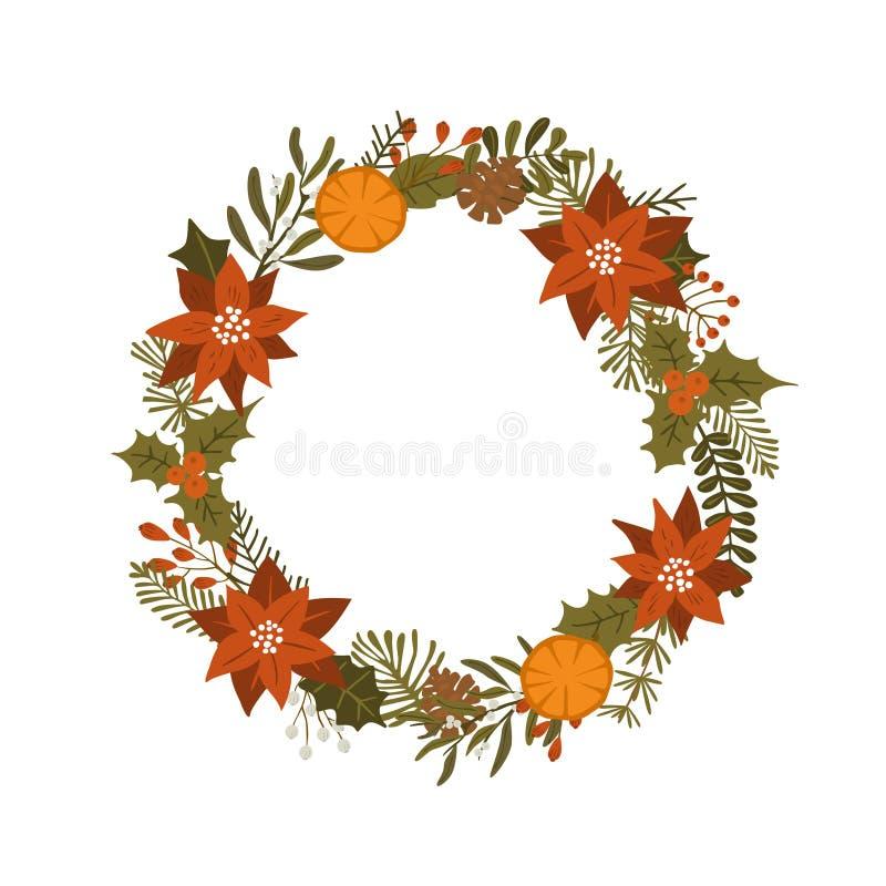 Las plantas del follaje del invierno de la Navidad, flores de la poinsetia salen de ramas, las bayas rojas enrruellan, ejemplo ai ilustración del vector