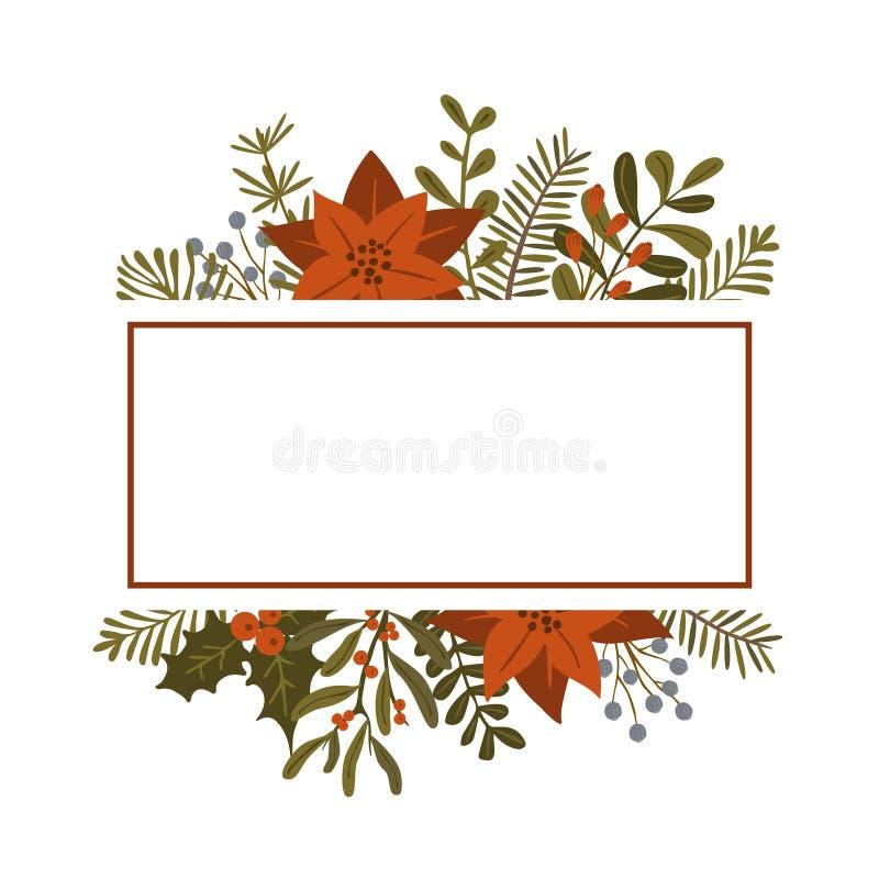 Las plantas del follaje del invierno de la Navidad, flores de la poinsetia salen de las ramas, plantilla roja del marco de las ba libre illustration