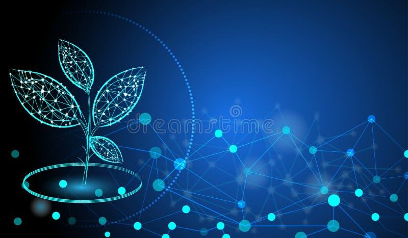 Las plantas translúcidas forman líneas y los triángulos señalan la red de conexión con la tierra del polígono en azul marino libre illustration
