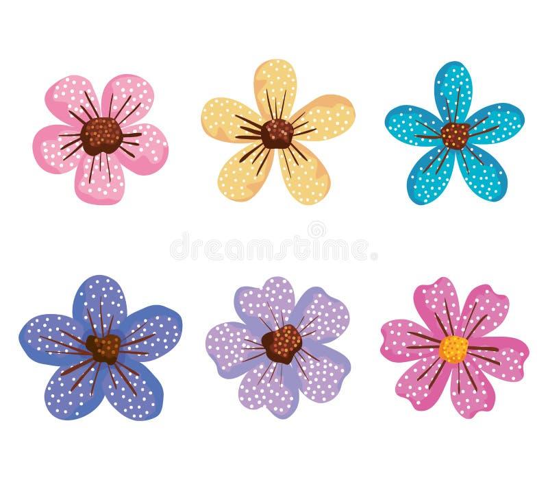Las plantas tropicales fijadas de las flores con los pétalos diseñan stock de ilustración
