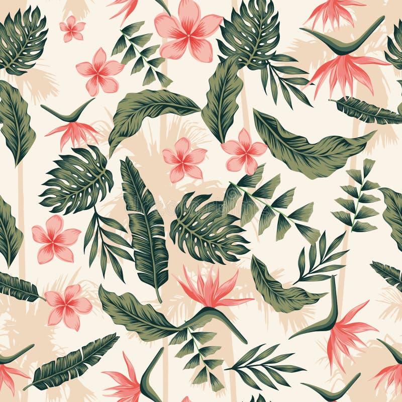 Las plantas tropicales y las flores ponen verde la parte posterior inconsútil de la palma de los colores rosados stock de ilustración