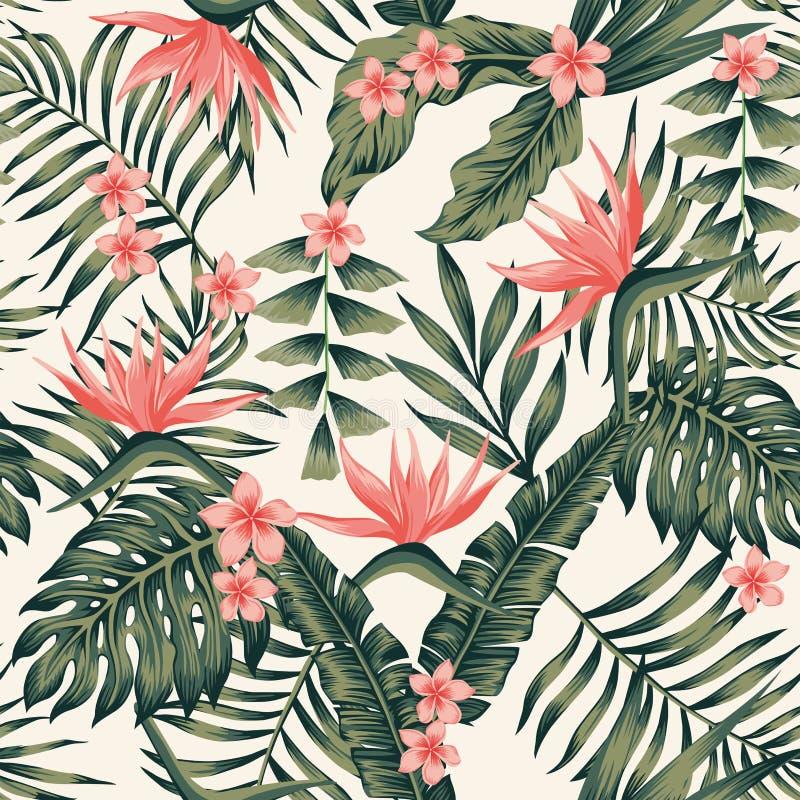 Las plantas tropicales y las flores resumen amarillo claro inconsútil de los colores ilustración del vector