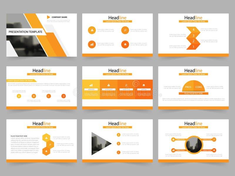 Las plantillas abstractas anaranjadas de la presentación, diseño plano de la plantilla de los elementos de Infographic fijaron pa stock de ilustración
