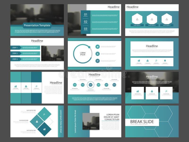 Las plantillas abstractas azules de la presentación, diseño plano de la plantilla de los elementos de Infographic fijaron para el ilustración del vector