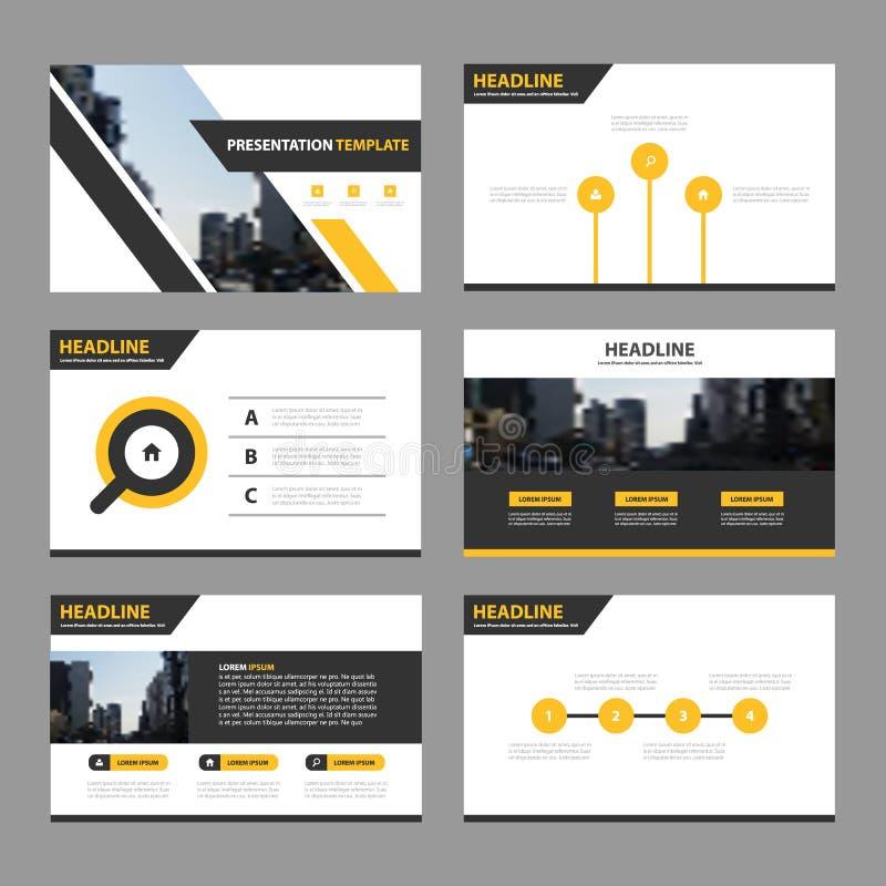 Las plantillas abstractas negras amarillas de la presentación, diseño plano de la plantilla de los elementos de Infographic fijar ilustración del vector