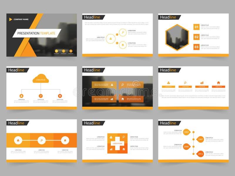 Las plantillas abstractas negras anaranjadas de la presentación, diseño plano de la plantilla de los elementos de Infographic fij stock de ilustración