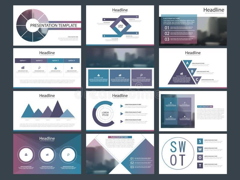 Las plantillas abstractas púrpuras de la presentación, diseño plano de la plantilla de los elementos de Infographic fijaron para  libre illustration