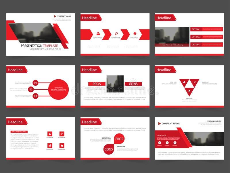 Las plantillas abstractas rojas de la presentación, diseño plano de la plantilla de los elementos de Infographic fijaron para el  ilustración del vector