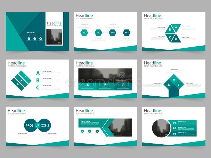 Las plantillas abstractas verdes de la presentación, diseño plano de la plantilla de los elementos de Infographic fijaron para el stock de ilustración