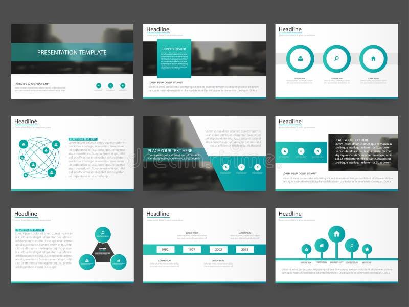Las plantillas abstractas verdes de la presentación, diseño plano de la plantilla de los elementos de Infographic fijaron para el ilustración del vector