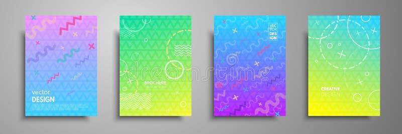 Las plantillas coloridas del cartel fijadas con formas abstractas, plano y línea geométricos del estilo de 80s Memphis diseñan el stock de ilustración