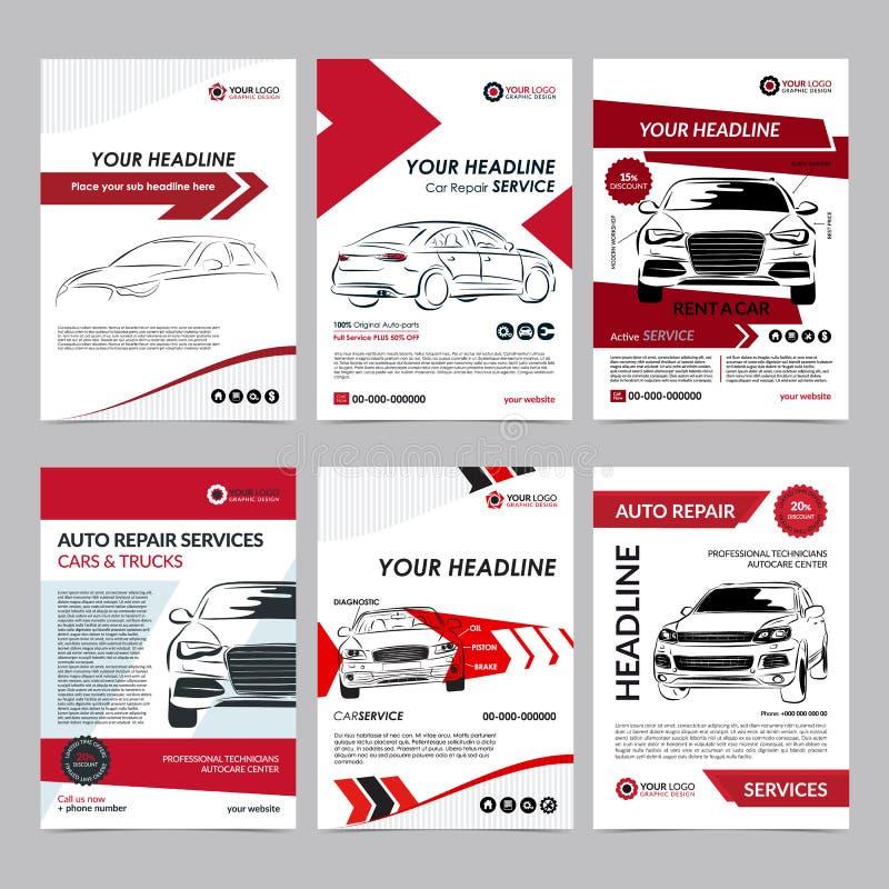 Las plantillas de la disposición del negocio de servicios de reparación auto fijaron, portada de revista del automóvil, folleto a ilustración del vector
