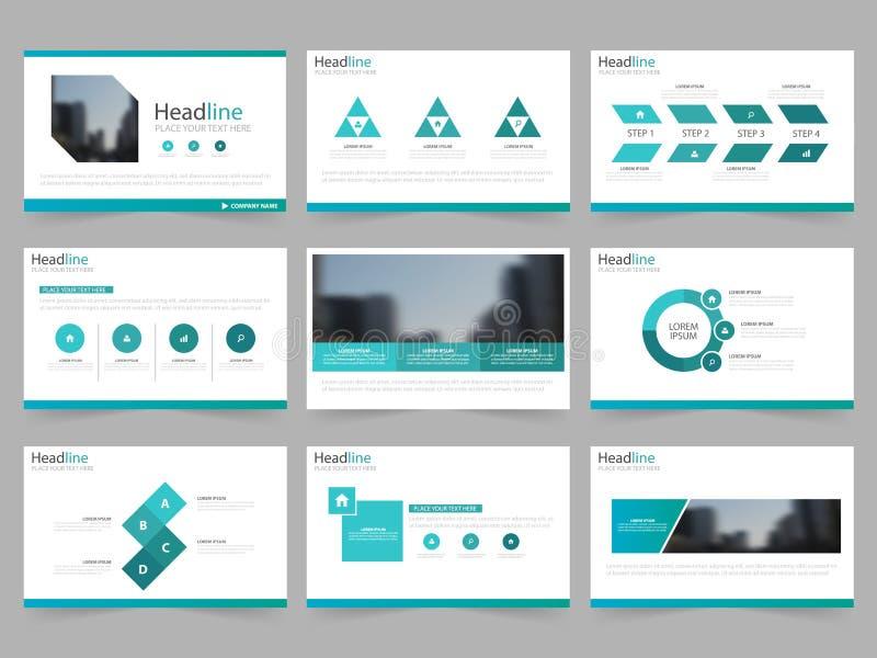 Las plantillas de la presentación del extracto del verde azul, diseño plano de la plantilla de los elementos de Infographic fijar libre illustration