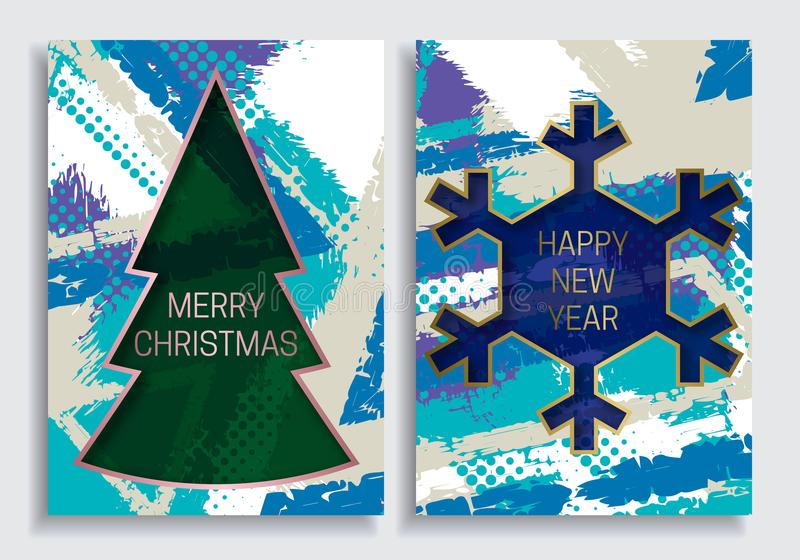 Las plantillas de la tarjeta de felicitación de la Feliz Año Nuevo y de la Feliz Navidad en grunge texturizan el fondo con el mar stock de ilustración