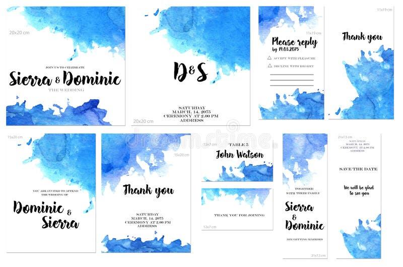 Las plantillas de la tarjeta fijadas con la acuarela azul salpican el fondo; diseño artístico para el negocio, boda, invitación d ilustración del vector