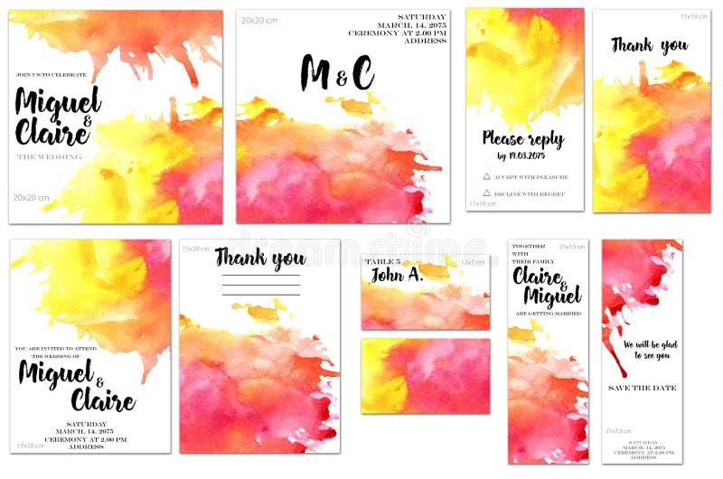 Las plantillas de la tarjeta fijadas con la acuarela carmesí y amarilla salpican el fondo; diseño artístico para el negocio, boda ilustración del vector