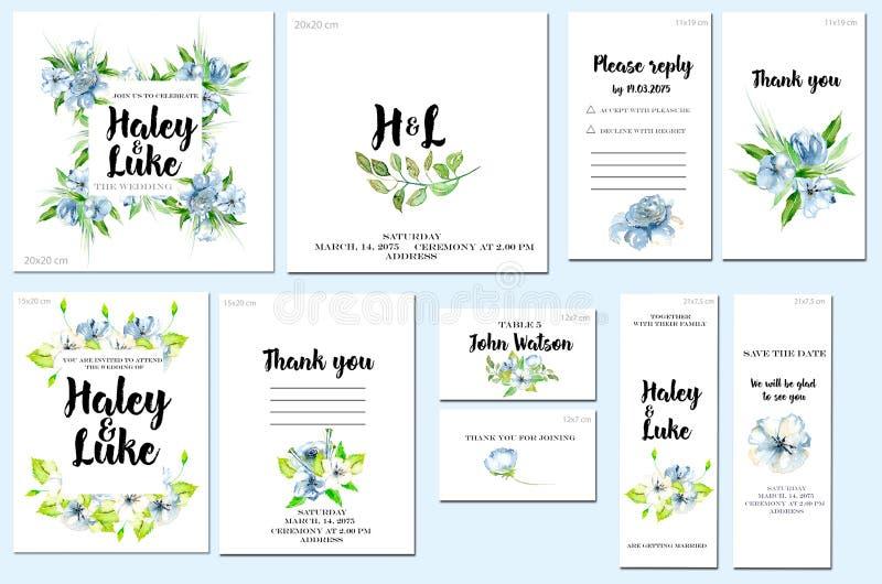 Las plantillas de la tarjeta fijan con los wildflowers azules de la acuarela y el verde deja el fondo; diseño artístico para el n ilustración del vector