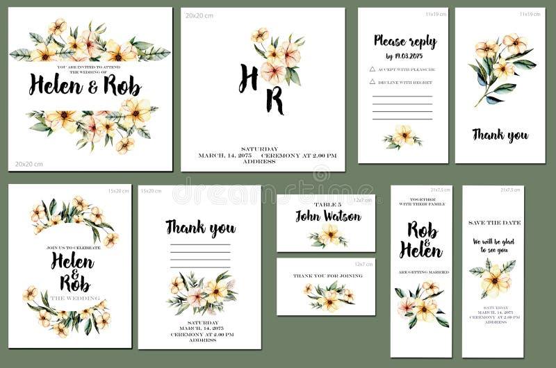 Las plantillas de la tarjeta fijan con los wildflowers del rosa de la acuarela y el verde deja el fondo; diseño artístico para el libre illustration