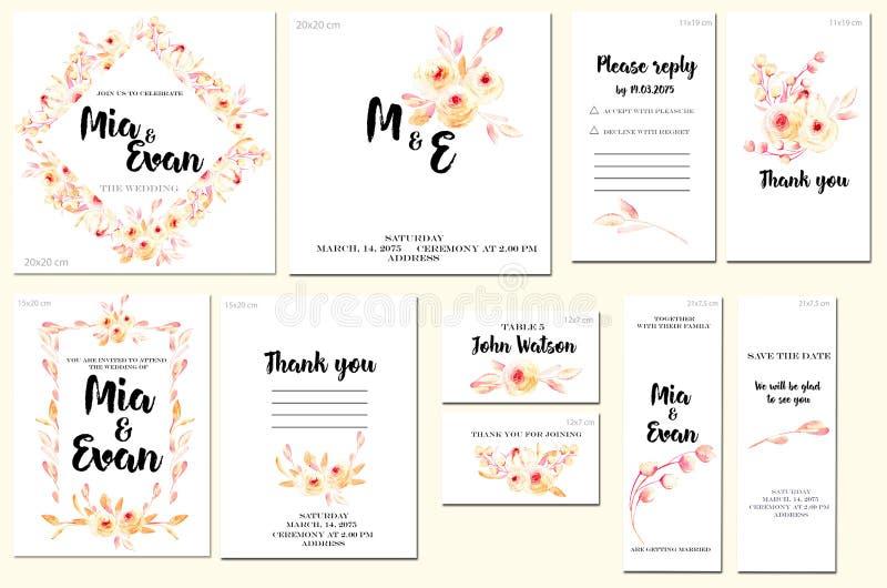 Las plantillas de la tarjeta fijan con las rosas del rosa de la acuarela y salen del fondo; diseño artístico para el negocio, bod stock de ilustración