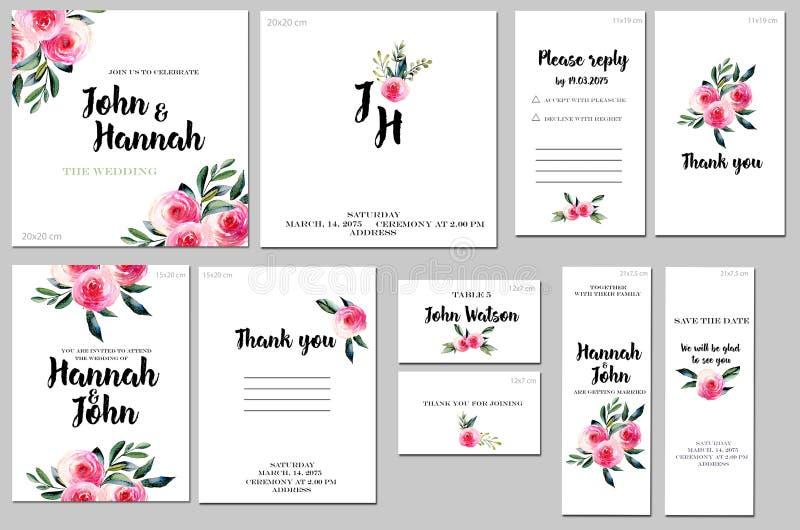 Las plantillas de la tarjeta fijan con las rosas rojas de la acuarela y el verde deja el fondo; diseño artístico para el negocio, stock de ilustración