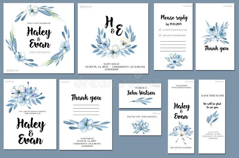 Las plantillas de la tarjeta fijaron con el fondo azul de las flores y de las hojas de la acuarela; diseño artístico para el nego libre illustration