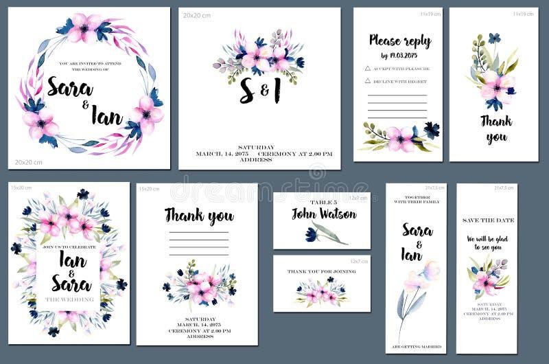 Las plantillas de la tarjeta fijaron con el fondo de los wildflowers de la acuarela del rosa de la primavera; diseño artístico pa libre illustration