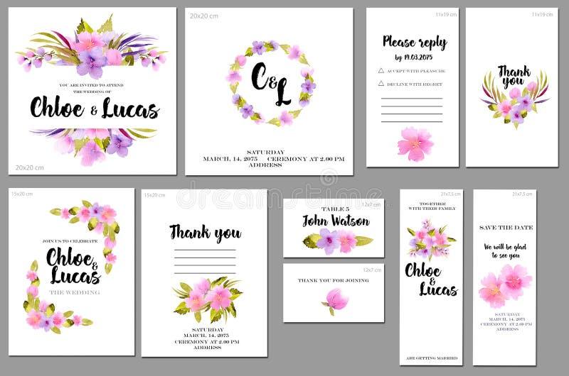 Las plantillas de la tarjeta fijaron con el fondo salvaje de las rosas de la acuarela rosada y púrpura; diseño artístico para el  libre illustration