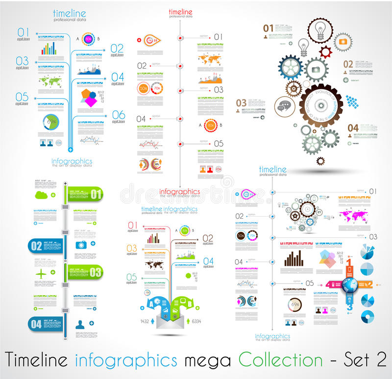Las plantillas del diseño de Infographic de la cronología fijaron 2 stock de ilustración