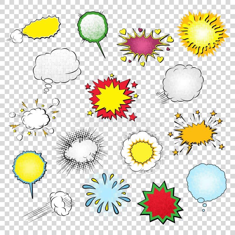 Las plantillas del espacio en blanco del vector de las burbujas del discurso, de los símbolos, de los efectos sonoros y de los el ilustración del vector