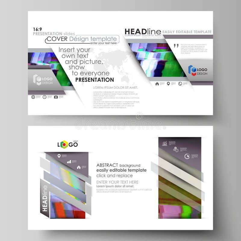 Las plantillas del negocio en el formato de HD para la presentación resbalan Disposiciones abstractas del vector en diseño plano  stock de ilustración