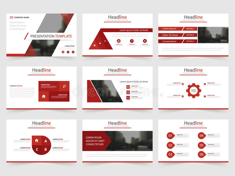 Las plantillas rojas de la presentación del triángulo, diseño plano de la plantilla de los elementos de Infographic fijaron para  ilustración del vector