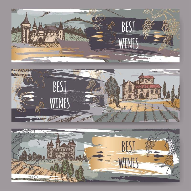 Las plantillas tricolores de la etiqueta del vino con los castillos, viñedo ajardinan, vid libre illustration