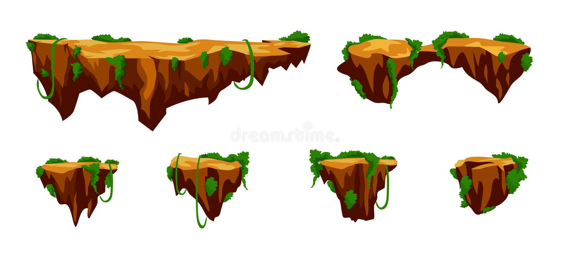 Las plataformas del juego fijan, oscilan, ejemplo aislado en el fondo blanco stock de ilustración