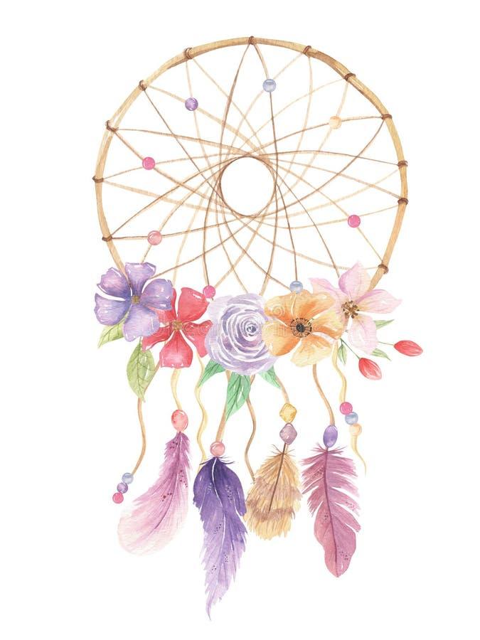 Las plumas rosadas de las flores del bohemio de Dreamcatcher de la acuarela gotean el ramo de las hojas ilustración del vector