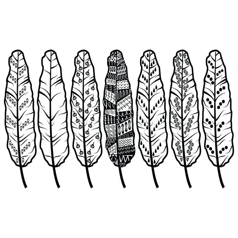 Las plumas tribales de la cultura azteca en nativo americano adornan estilo en blanco y negro stock de ilustración