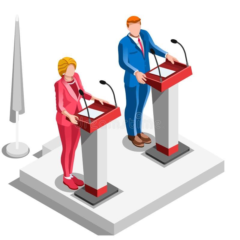 Las políticas de Infographic de la elección discuten a gente isométrica del vector stock de ilustración