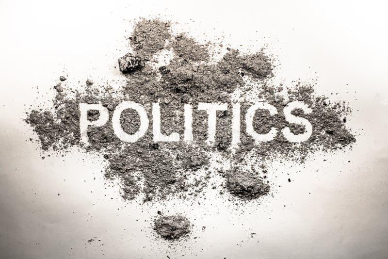 Las políticas redactan en la ceniza, suciedad, inmundicia, polvo como mún gobierno, regla, imágenes de archivo libres de regalías