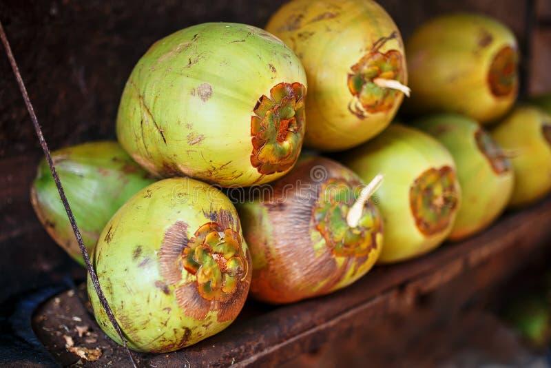 Las porciones de cocos verdes frescos alinearon con una pila Paradas del mercado del primer imagen de archivo libre de regalías