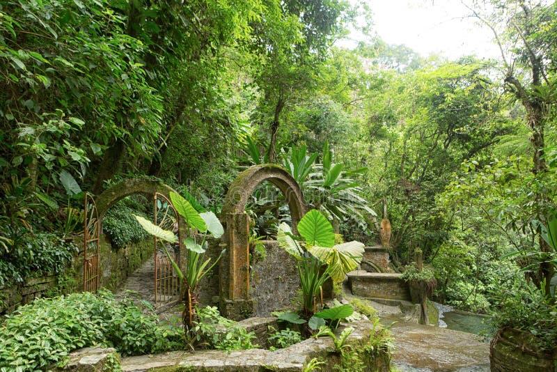 Las Pozas också som är bekant som Edward James Gardens i Mexico arkivbild