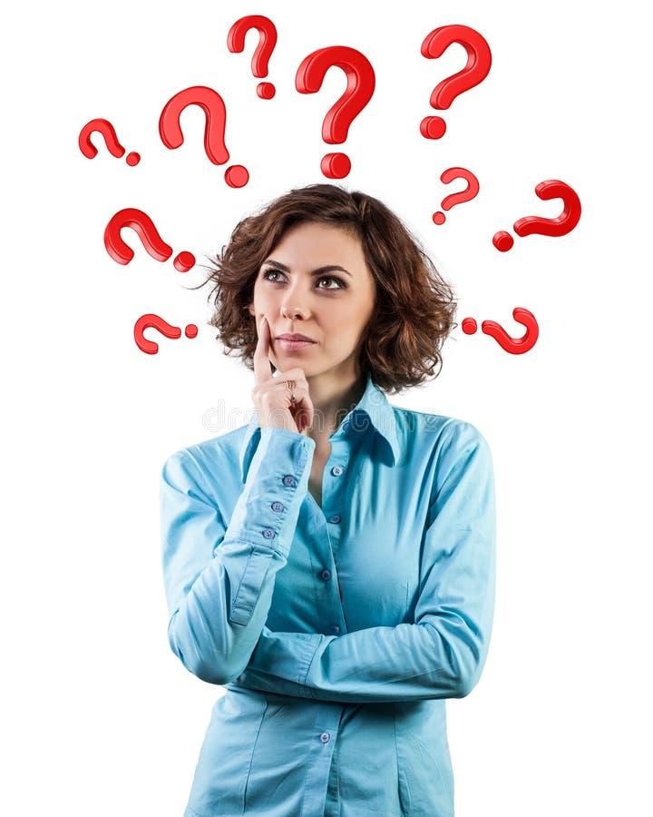 Las preguntas redondean una cabeza fotos de archivo libres de regalías